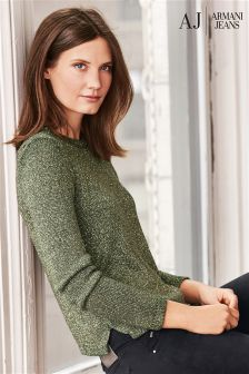 Armani Jeans Green Sparkle Knit Jumper