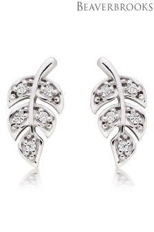 Beaverbrooks Silver Cubic Zirconia Leaf Earrings