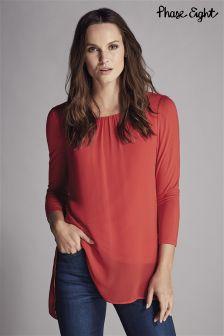 Phase Eight Red Bonnie Longline Blouse