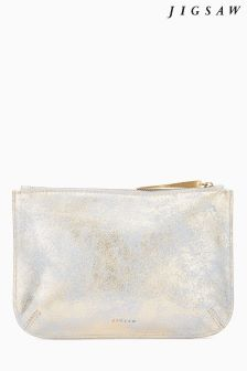 Jigsaw Metallic Alana Large Leather Pouch