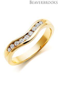 Beaverbrooks 18ct Gold Diamond Shaped Wedding Ring