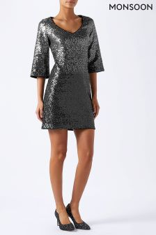 Monsoon Silver Obelia Ombre Sequin Dress