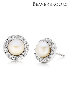 Beaverbrooks Silver Freshwater Cultured Pearl And Cubic Zirconia Earrings