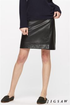 Jigsaw Black Leather Wrap Mini Skirt