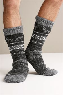 Fairisle Pattern Slipper Socks