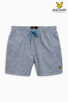 Lyle & Scott Blue Gingham Swim Short