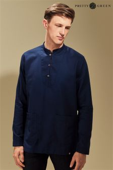Pretty Green Navy Collarless Shirt