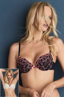 Emily Embroidered Push-Up Balcony Bras Two Pack