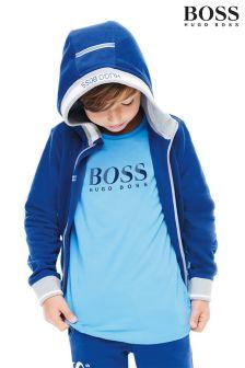 Hugo Boss Navy Logo Zip Through Hoody