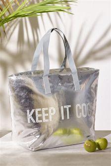 Metallic Slogan Tote Bag