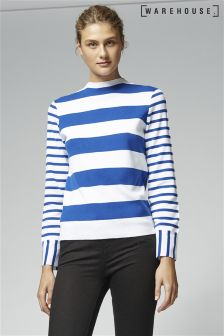 Warehouse Blue Contrast Stripe Jumper
