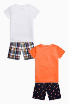 Fluro Check Short Pyjamas Two Pack (3-16yrs)