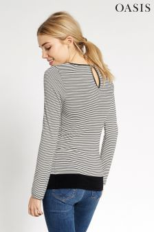 Oasis White/Black Stripe Envelope Long Sleeve Tee