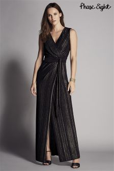 Phase Eight Black Stripe Wrap Maxi Dress