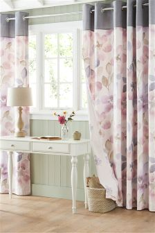 Watercolour Bloom Eyelet Curtains