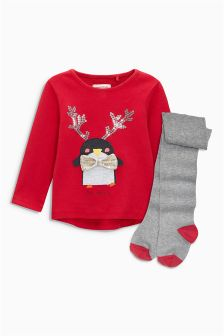 Penguin Christmas T-Shirt And Tights Set (3mths-6yrs)