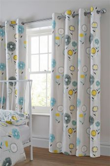 Retro Floral Grey Eyelet Curtains