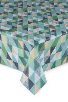 Teal Geo Wipe Clean PVC Tablecloth