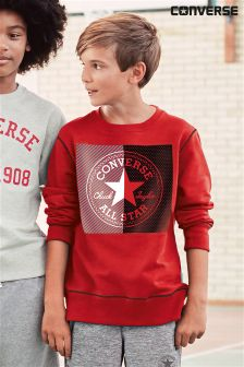Converse Red Colour Block Pull Over Crew