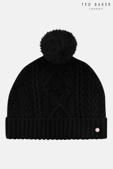 Ted Baker Black Kyliee Cable Knit Hat