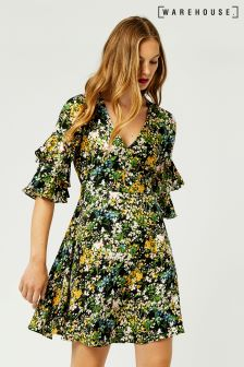 Warehouse Black Pattern Painted Meadow Tea Dress
