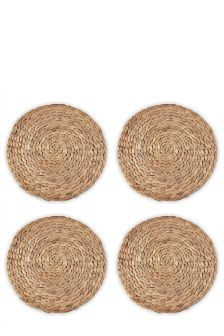Set Of 8 Natural Water Hyacinth Mat And Coaster Set