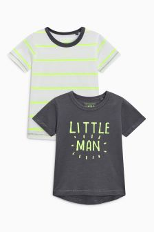 Little Man Slogan T-Shirts Two Pack (3mths-6yrs)