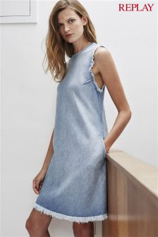 Replay® Light Wash Frayed Denim Dress