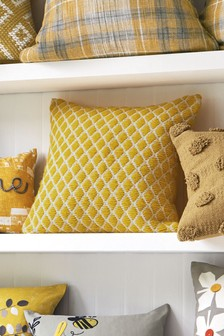 Yellow Woolly Geo Cushion