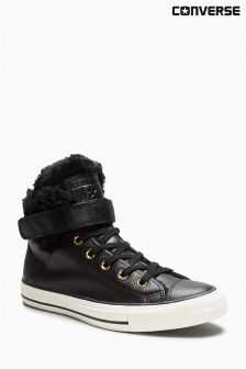 Converse Black Fur Leather Chuck Taylor All Star Brea