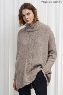 French Connection Brown Ora Cable Knits Jumper