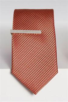 Textured Tie And Tie Clip