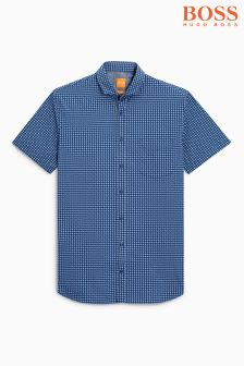 Boss Orange Blue Patterned Short Sleeve Shirt