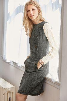 Herringbone Button Dress