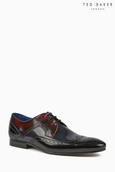 Ted Baker Black/Oxblood/Navy Hi Shine Oakke Brogue