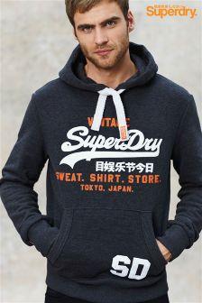 Superdry Navy Marl Script Logo Hoody