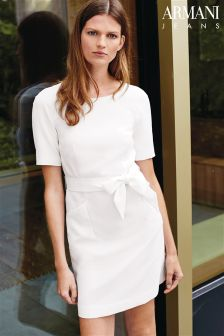 Armani Jeans White Tie Front Dress