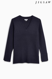 Jigsaw Navy Silk Cuff V Jumper