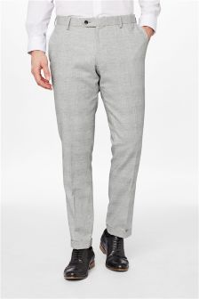 Linen Check Skinny Fit Suit: Trousers