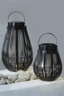 Set Of 2 Solar Wire Lanterns