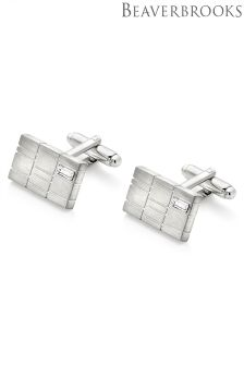 Beaverbrooks Brushed Cubic Zirconia Men's Cufflinks
