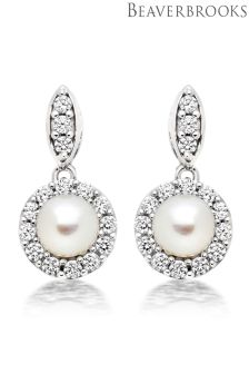 Beaverbrooks Silver Pearl And Cubic Zirconia Drop Earrings