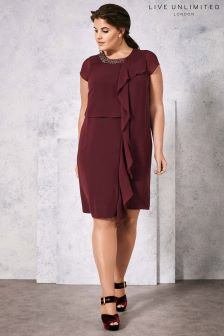 Live Unlimited Merlot Trimmed Front Frill Dress