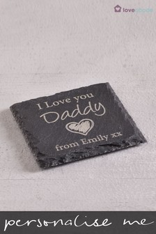 Personalised Love You Real Slate Coaster By Loveabode