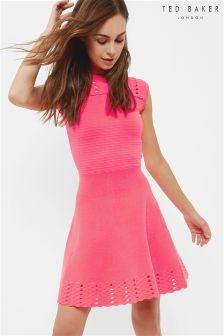 Ted Baker PInk Zaralie Jacquard Panel Skater Dress