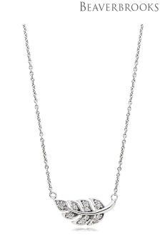 Beaverbrooks Silver Cubic Zirconia Leaf Necklace