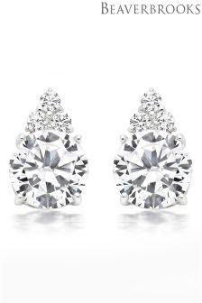 Beaverbrooks Silver Cubic Zirconia Cluster Earrings
