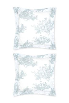 Set of 2 Duck Egg Toile Square Pillowcases