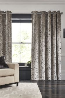 Collection Luxe Silver Cut Velvet Eyelet Curtains