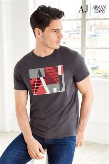 Armani Jeans Grey Graphic Logo T-Shirt